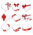 Festive heart-shaped cards with red gift ribbons vector image vector image