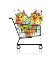 Floral heart in shopping cart for your design vector image vector image