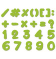 font design for numbers and signs in green color vector image vector image