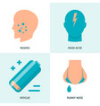 food intolerance symptoms icon set in flat style vector image