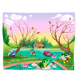Funny animals in the pond vector image