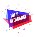 geometrical colorful banner total clearance vector image vector image