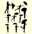 girl with umbrella gesture silhouette vector image vector image