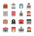 government building colored icons Municipal city vector image vector image