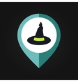 Halloween Witch hat mapping pin icon vector image vector image