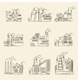 hand drawn industrial factory buildings set vector image vector image