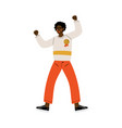 happy african american man celebrating victory vector image vector image