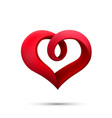 heart ribbon sign 3d logo red icon art vector image vector image