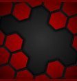 Hexagon metal background Black and red background vector image vector image
