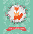 holiday postcard with funny fox vector image vector image