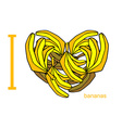 I love bananas Symbol of heart of bananas Tropical vector image vector image