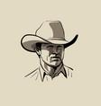 man with cowboy hat western portrait digital vector image
