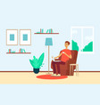 man with laptop and cup sitting in chair at home vector image