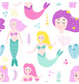 mermaids seamless pattern in childish style vector image vector image