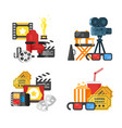 movie design set of concept with cinema icons vector image vector image