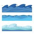 ocean or sea water waves set of horizontal vector image