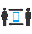 people exchange smartphone icon vector image