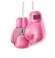 pink pair of boxing glove on lace realistic vector image vector image