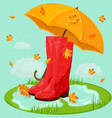 red boots and umbrella rainy day vector image