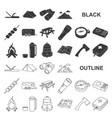 rest in the camping black icons in set collection vector image