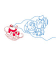 santa in sledge wear digital glasses virtual vector image vector image