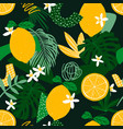 seamless pattern with lemons exotic palm leaves vector image