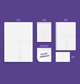 set crumpled four standart blank lined series vector image
