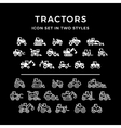 Set icons of tractors vector image vector image