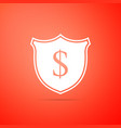 shield and dollar icon on orange background vector image vector image
