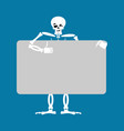 skeleton holding banner blank death and white vector image vector image