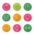 sport and dieting flat linear long shadow icons vector image vector image