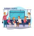 subway underground people cartoon composition vector image vector image
