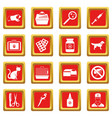veterinary icons set red vector image vector image