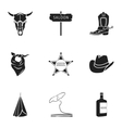 Wild west set icons in black style Big collection vector image vector image