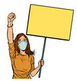 woman in medical mask protests with a poster vector image vector image