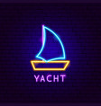 yacht neon label vector image