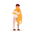 young man hugging his dog pet love concept vector image
