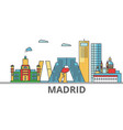 madrid city skyline buildings streets vector image