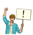 a man protests with poster isolate on white vector image vector image