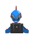 alien sitting in front computer robot android vector image