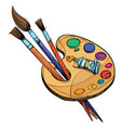 artists palette with paints and brushes isolated vector image vector image