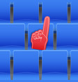 background of stadium seats and fan foam finger vector image vector image
