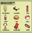 beach color outline isometric icons vector image vector image