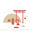 Beautiful Japan Travel Landmarks poster with Torii vector image
