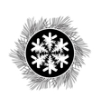 Black and white card with snowflake pine vector image