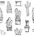 cacti handdrawn sketch seamless pattern pattern vector image