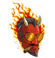 cartoon burning devil man with horns and cigar vector image vector image