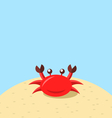 Cartoon cheerful crab at the beach natural vector image