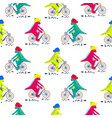 cartoon dinosaur on bikes seamless pattern dino vector image vector image