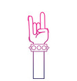 color line hand up with bracelet and rock gesture vector image